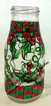 Christmas Checkerboard Patterned Chunky Glass Bottle