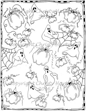 Ghosts and Pumpkins Patterned Page Color Book